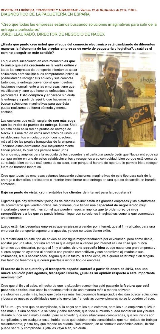 entrevista Jordi llaurado nacex
